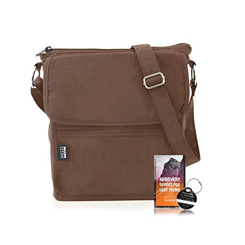 Travel Crossbody Purse - Hidden RFID Pocket - Includes Lifetime Lost & Found ID (Mocha) (The Best Travel Purse)