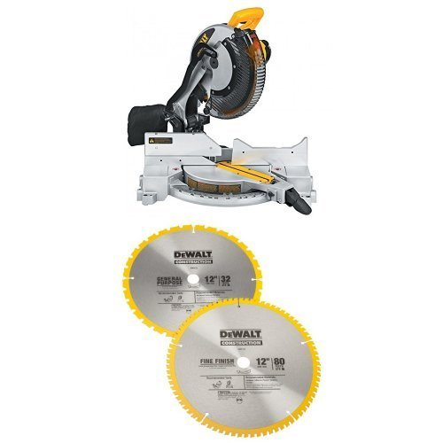 DEWALT DW715 15-Amp 12-Inch Single-Bevel Compound Miter Saw w/DW3128P5 80 Tooth and 32T ATB Thin Kerf 12-inch Crosscutting Miter Saw Blade, 2 Pack