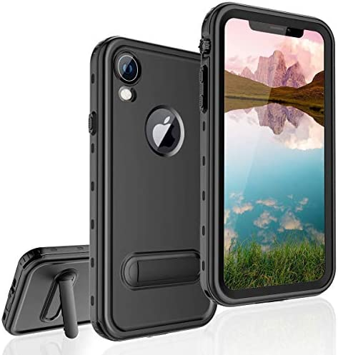 FXXXLTF Waterproof Case for iPhone XR, Full-Body Protective iPhone XR Case Waterproof Shockproof Snowproof Clear Cover Case with Kickstand