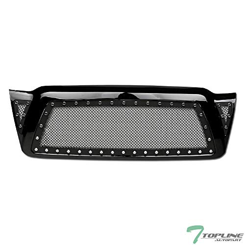 Topline Autopart Glossy Black RVT Rivet Bolt Steel Mesh Front Hood Bumper Grill Grille For 05-11 Toyota Tacoma (Toyota Tacoma Grill 2009)