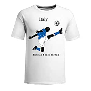 Custom Mens Cotton Short Sleeve Round Neck T-shirt,2014 Brazil FIFA World Cup teams white by Maris's Diary