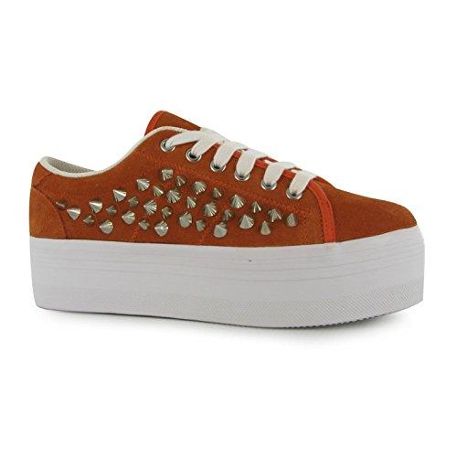 Jeffrey Campbell Play Zomg Plattform Shoes Damen Orange/Silber Trainer Sneakers, orange / silber, (UK8)