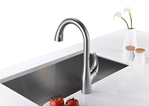 Purelux Calla Kitchen Sink Faucet Modern Design Single Handle with Pull Down Sprayer High Arc, Satin Stainless Finish Pull Out Sprayer Kitchen Sink Faucets