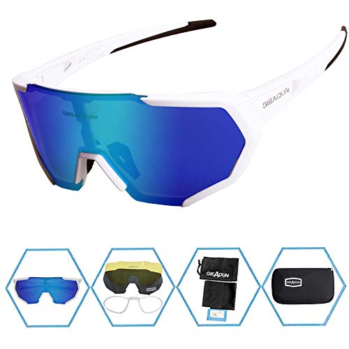 GIEADUN Sports Sunglasses Polarized UV400 Protection Cycling Glasses with 3 Interchangeable Lenses for Cycling, Baseball,Fishing, Ski Running,Golf (White)
