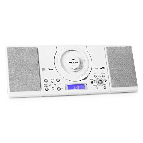 Auna MC-120 Stereoanlage Microanlage mit MP3-CD-Player (MP3 USB-Eingang, UKW/MW-Radiotuner, Wandmontage) Pianolack weiß