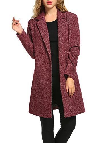 Woman Single Breasted Classic Coat (Zeagoo Women Long Trench Coat Single Breasted Wool Jacket Cardigan)