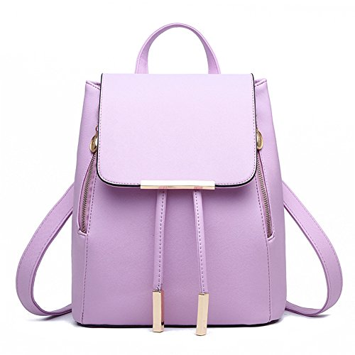 (KARRESLY Women's Mini Backpack Purse PU Leather Rucksack Purse Ladies Casual Shoulder Bag for Women(Purple))
