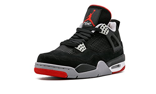 Nike Mens Air Jordan 4 Retro Bred Black/Cement Grey-Fire Red Suede Basketball Shoes Size 9