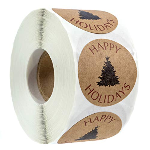 Northwoods Buffalo Plaid Christmas Stickers/500 Christmas Tags/Happy Holidays with Single Black Tree Sticker