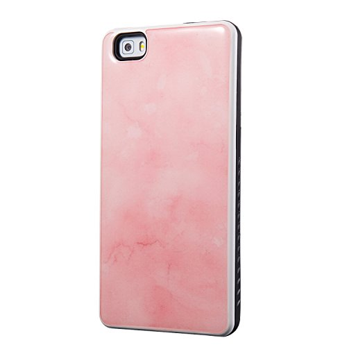 YAJIE-Carcasa Funda Para Huawei P8 Lite Case, Marble Stone Design PC y TPU Hybrid Shockproof Funda protectora para funda rígida ( Color : Light Blue ) Pink