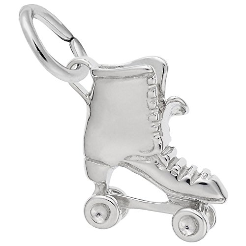 Skate 14k Gold Charm - Rollerskate Charm In 14k White Gold, Charms for Bracelets and Necklaces