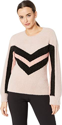 Vince Camuto Womens Long Sleeve Tinsel Crew Neck Chevron Sweater Rose Buff ()