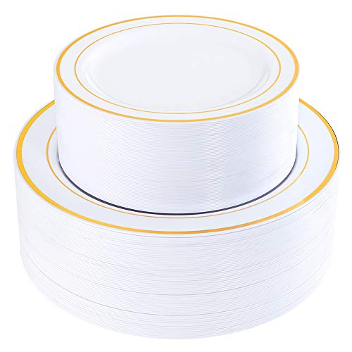 120 Pieces Gold Plastic Plates, Heavyweight White Disposable Plates with Gold Rim, includes: 60 Dinner Plates 10.25