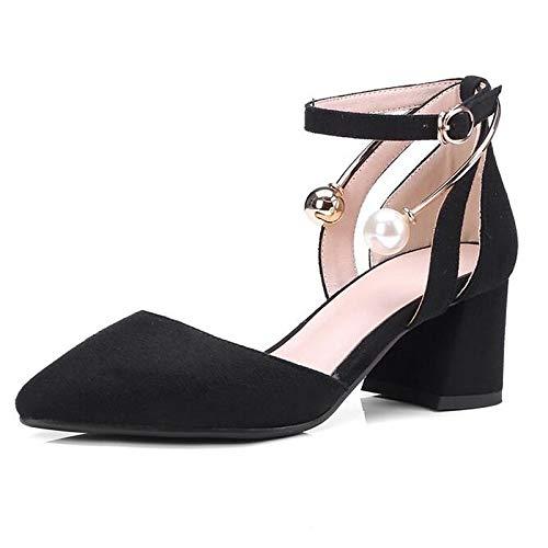 Heel Shoes Pink Green Spring ZHZNVX Green Comfort Heels Microfiber Black Women's Chunky 5qcva0