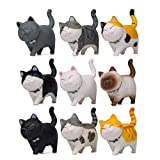 Halloluck 9 Pcs Cute Miniature Cat Figure Animal Cat Characters Toys Mini Figure Collection Playset, Cake Topper, Plant, Automobile Decoration