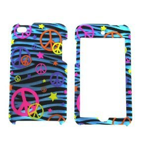 ch 4th Cool Blue Zebra with peace sign Cute lovely Fun Animal Hard Case + Bukit Cell Metallic Stylus Pen [ Not For Ipod Touch 5/6th Generation ] ()