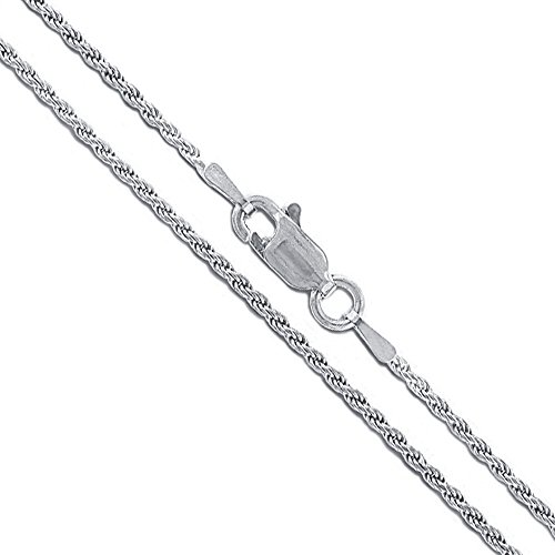 10k White Gold Solid Round Rope Link Chain 1.5mm Necklace 18