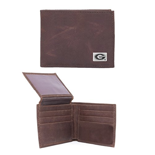 Eagles Wings NCAA Georgia Bulldogs Men's Bi Fold Wallet, One Size, Brown