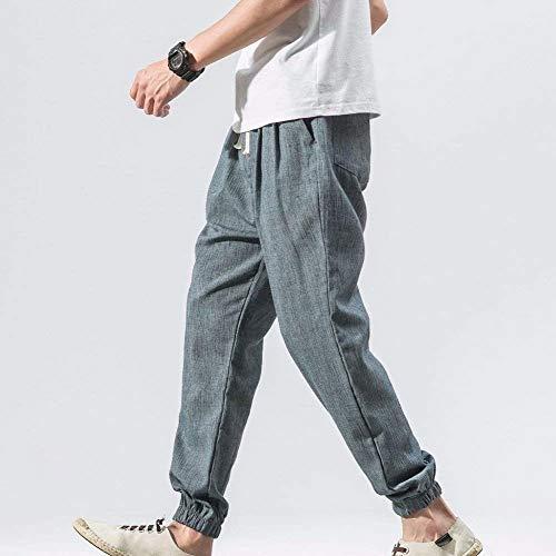 Unies De Loisirs Avec Ample Travail Blau Pantalon Lin Basique Couleurs En Cordon Tav7dqw
