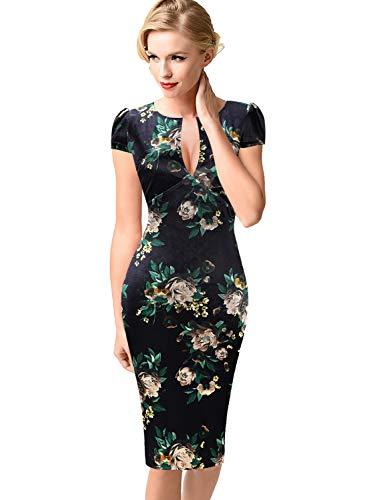 VFSHOW Womens Deep V Neck Velvet Floral Print Cocktail Party Bodycon Dress 1910 FLW XL