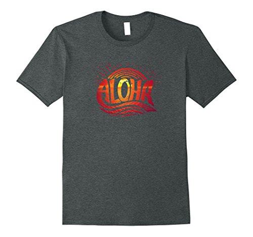 Mens Hawaii Aloha Shirt Sunset T-Shirt Large Dark Heather