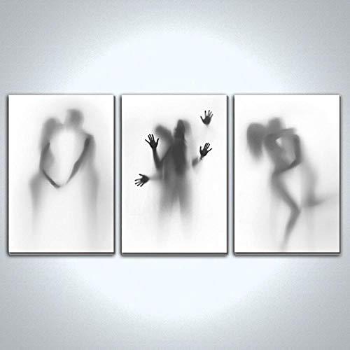 ZDFDC Minimalista Negro Blanco Lienzo Pintura Sexy Hombres y Mujeres Besos Carteles Impresiones Arte de la Pared Imagenes para la Sala de Estar Dormitorio Decoracion-60x90cmx3 sin Marco