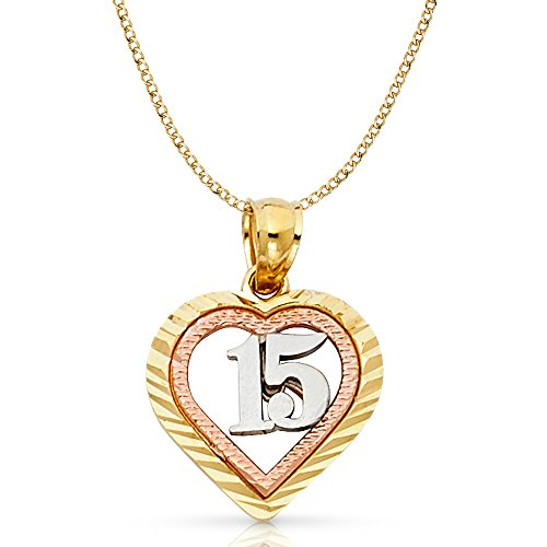 Ioka Jewelry - 14K Tri Color Gold Sweet 15 Years Quinceanera Heart Charm Pendant with 2mm Hollow Cuban Bevel Chain Necklace - 18