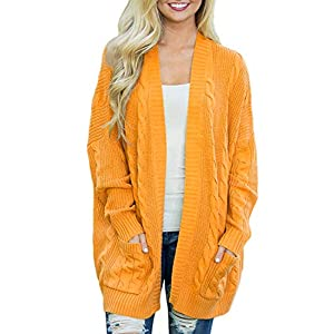 futurino Women's Cable Twist School Wear Boyfriend Pocket Open Front Cardigan Popcorn Sweaters…