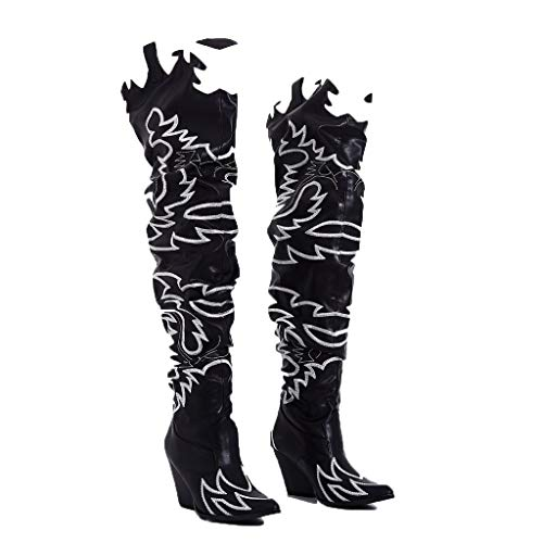 80af08193ae CAPE ROBBIN Kelsey-21 Black White Rock Star Western Pointed Slouchy Over  Knee Thigh Boot (8.5)