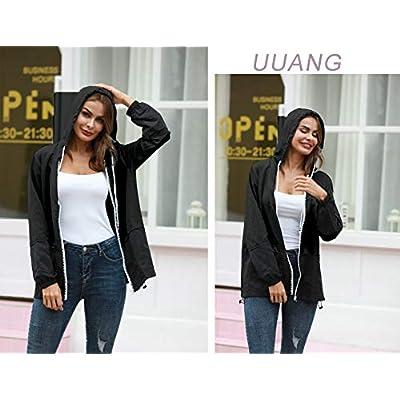 UUANG Women's Lightweight Packable Rain Jacket Hooded Waterproof Windbreaker: Clothing