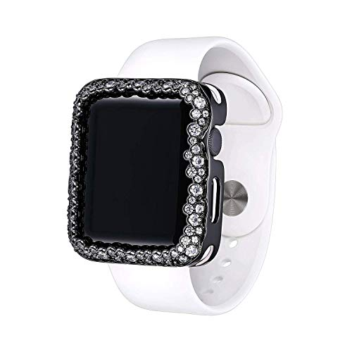 SKYB Gunmetal Gray Rhodium Plated Champagne Bubbles Jewelry-Style Apple Watch Case with Swarovski Zirconia CZ Border - Large (Fits 42mm iWatch)
