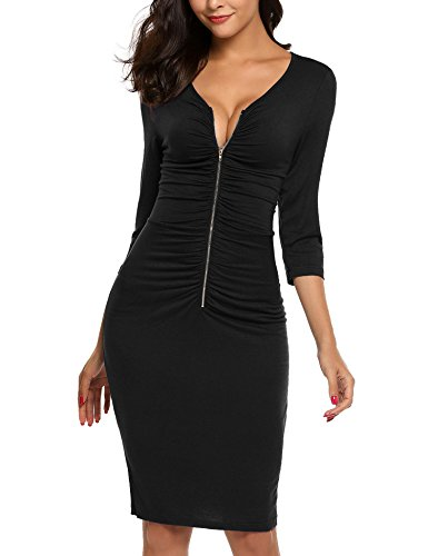 - AL'OFA Women's Business V Neck 3/4 Sleeve Ruched Zip Front Bodycon Dress_B_M