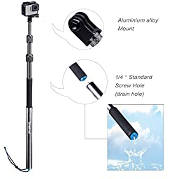 Smatree SmaPole S3C Carbon Fiber Detachable Extendable Floating Pole for GoPro Hero 5/4/3+/3/2/1/Session (12.5\