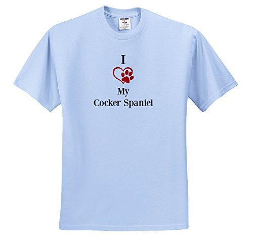 BrooklynMeme Pet Sayings - I Love My Cocker Spaniel - T-Shirts - Adult Light-Blue-T-Shirt 3XL (TS_265247_55) ()