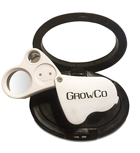 (LED Jewelers Loupe & Trichome Magnifier With Case 30X 60X - Dual LEDs - Great for Jewelry, Gems, Rocks, Stamps, Coins, Watches, and Antiques - Check for Trichome Color, Bugs, Mold, or Mildew on Plants)
