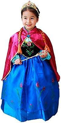 Cirad Frozen Vestido Niñas Disfraz Anna Elsa (100 (2-3 Años ...