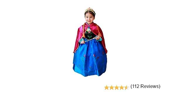 CIRAD Frozen Vestido Niñas Disfraz Anna Elsa (120 (4-5 años ...
