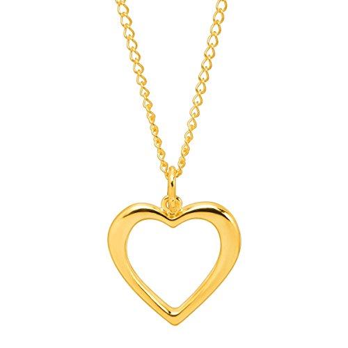 Open Heart Silhouette Pendant Necklace in 10K Gold with Gold-Filled Chain - Heart Silhouette Pendant