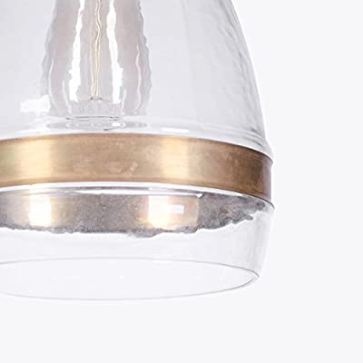 CASAMOTION Vintage Industrial Hand Blown Art Glass 1 Light Pendant Light with Brass Ring, Clear, Large