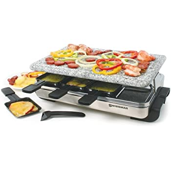 Swissmar KF-77081 Stelvio 8-Person Raclette with Granite Stone Grill Top, Brushed Stainless Steel