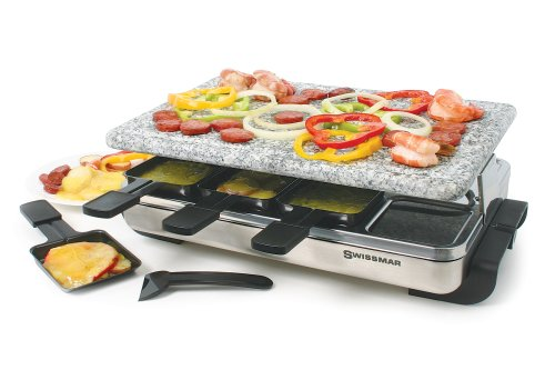 Swissmar KF-77081 Stelvio 8-Person Raclette Party Grill with Granite Stone Grill Top, Brushed Stainless Steel