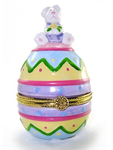 Art Gifts Decorated Easter Bunny Egg Hinged Trinket Box phb -