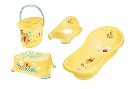 Disney Winnie Pooh AMARILLO bañera XXL 100cm + Reductor de inodoro+Taburete+Contendedor para