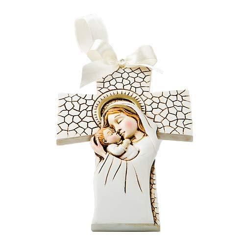 Christening Party Favors - Fashioncraft 20 Madonna and Child Hanging Cross Ornament