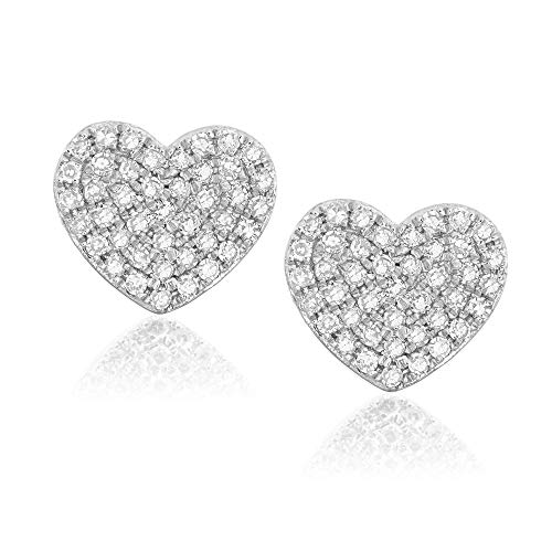 Diamond Stud Earring 14K Gold, Oval Heart Moon Circle Shapes - Fine Jewelry by Juliette (Diamond Gold Circle Heart Earrings)