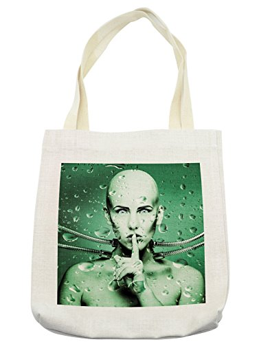 Pistachio Diaper Bag - Ambesonne Futuristic Tote Bag, Robot Girl with Cables In a Glass Underwater Design Print, Cloth Linen Reusable Bag for Shopping Groceries Books Beach Travel & More, Cream