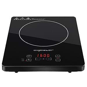 Aigostar Blackfire 30IAV - Placa inducción portátil multifunción con 2000 Watios de potencia, controles táctiles, 10 niveles de potencia, función mantener caliente y programable. Diseño exclusivo.