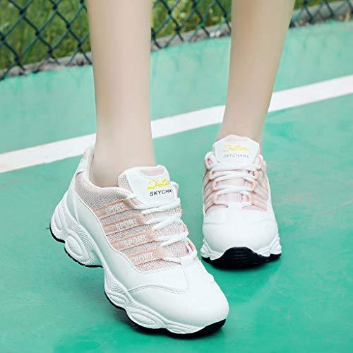 up Lace Traspirante Lacci Da bianco Punta Scarpa Corsa Sneakers Donna Jiameng Con rosa Scarpe Sportive Alla Rosa Nero Studente Sportive Traspiranti Arrotondata Moda n10FwWP7