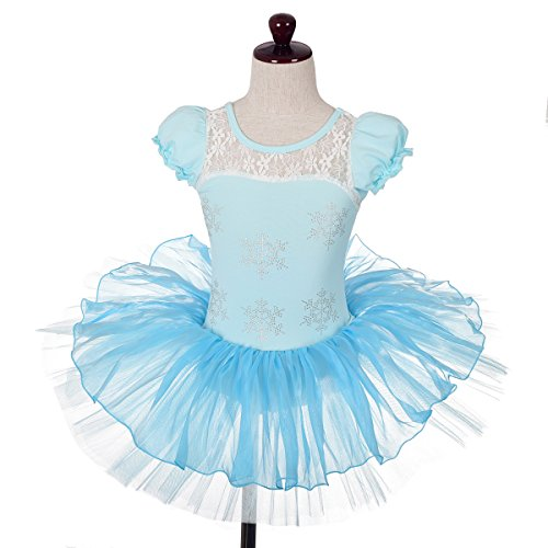 Dressy Daisy Girls' Rhinestone Snowflakes Frozen Ballet Tutu Dance Costume Fairy Dress Size 4-5 Blue Snowflake Fancy Dress