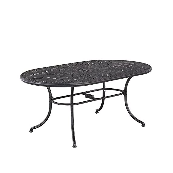 Athens Antique Charcoal Finish 7Piece Dining Set Oval Dining Table, Six Swivel Chairs & Umbrella by Home Styles - Cast aluminum Mediterranean style Charcoal finish - patio-furniture, dining-sets-patio-funiture, patio - 41PcLUIFEPL. SS570  -